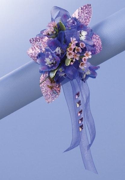 blue skies garden corsage